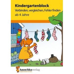 Kindergartenblock - Verbinden, vergleichen, Fehler finden ab 4 Jahre.