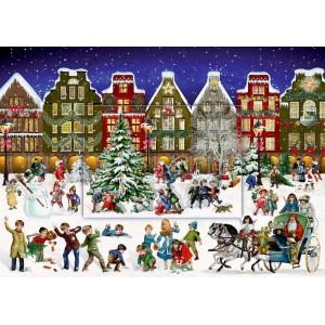 Adventskalender A4 - Winterabend in der Stadt.