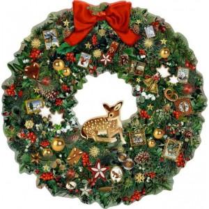 A3 Adventskalender - Kleiner Weihnachtskranz mit Reh.