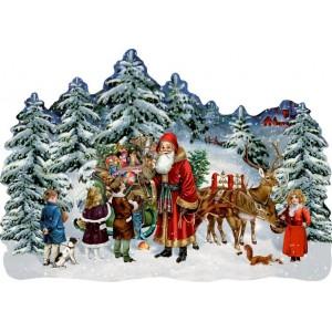Adventskalender Schlitten im Winterwald