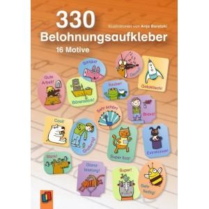 330 Belohnungsaufkleber.   16 Motive. A5-Stickerheft.
